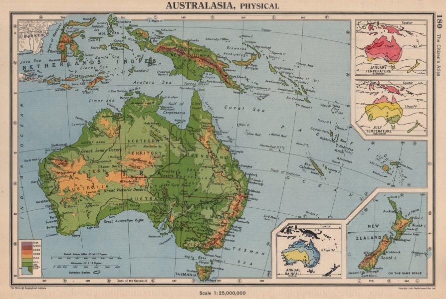 Associate Product AUSTRALASIA. January & July temperature; Annual rainfall. BARTHOLOMEW 1944 map