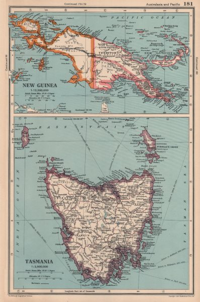 Associate Product AUSTRALASIA. New Guinea; Tasmania showing counties. BARTHOLOMEW 1944 old map
