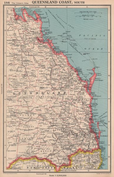 Associate Product QUEENSLAND COAST, SOUTH. showing counties. BARTHOLOMEW 1944 old vintage map