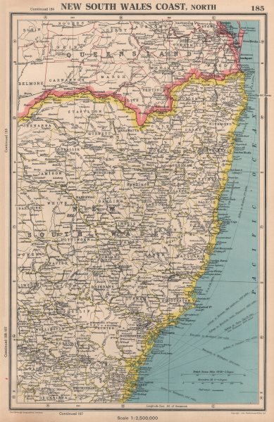 Associate Product NEW SOUTH WALES COAST, NORTH. showing counties. BARTHOLOMEW 1944 old map