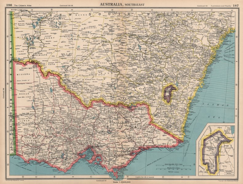 Map Of Nsw And Victoria Australia.Details About South East Australia Victoria Nsw Federal Capital Territory Jervis Bay 1944 Map