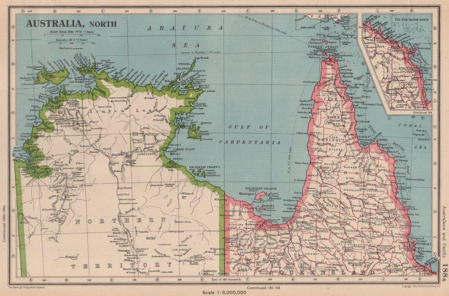 NORTHERN AUSTRALIA. Cape York. Gulf of Carpentaria. Queensland NT 1944 old map