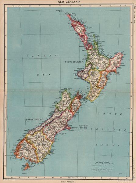 Associate Product NEW ZEALAND. Showing provinces. BARTHOLOMEW 1944 old vintage map plan chart
