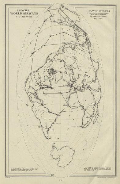PRINCIPAL WORLD AIR ROUTES. Atlantis projection. Airways. BARTHOLOMEW 1947 map