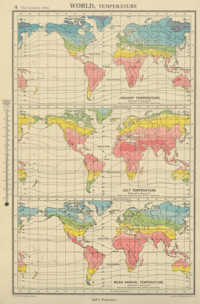 Associate Product WORLD TEMPERATURE. January July Mean annual. BARTHOLOMEW 1947 old vintage map