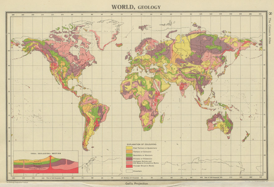 Associate Product WORLD GEOLOGICAL. Geology. Primary Secondary Tertiary. BARTHOLOMEW 1947 map