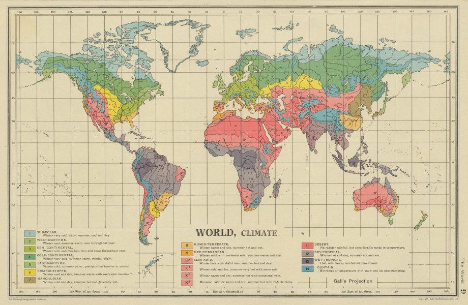 Associate Product WORLD CLIMATE. maritime continental desert tropical &c. BARTHOLOMEW 1947 map