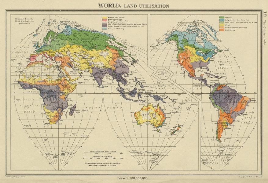Associate Product WORLD LAND UTILISATION. Farm types. nomadic dairy stock rearing &c 1947 map