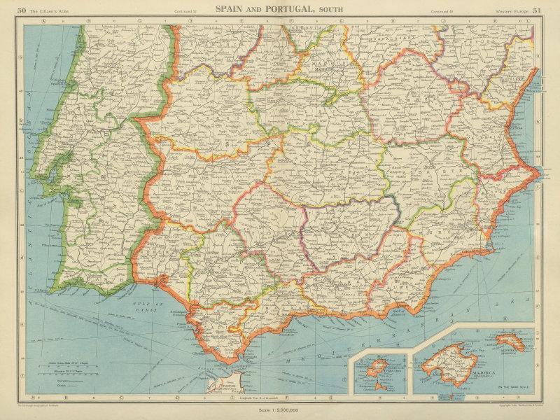 Associate Product IBERIA SOUTH. Spain & Portugal. Andalusia Murcia Valencia Extremadura 1947 map