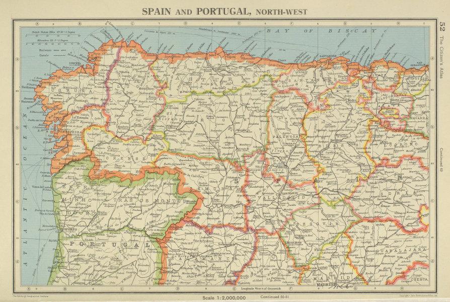 Associate Product IBERIA N WEST. Spain Portugal. Galicia Asturias Castilla/Leon Cantabria 1947 map