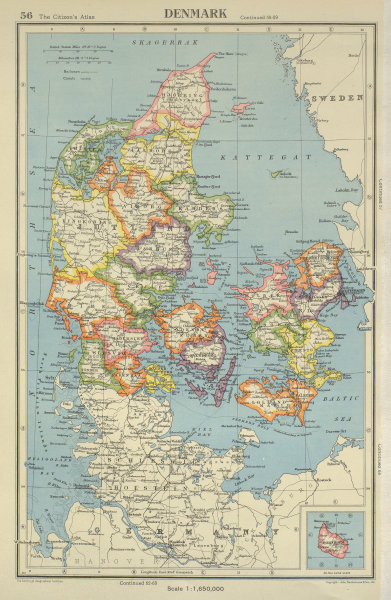 Associate Product DENMARK. showing counties/amter. BARTHOLOMEW 1947 old vintage map plan chart