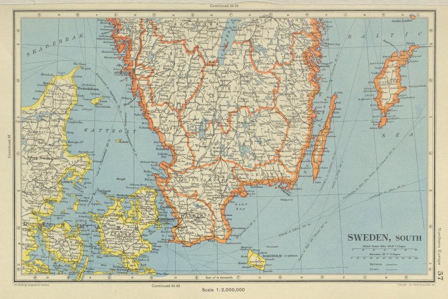 Associate Product SWEDEN SOUTH + Denmark East. Railways. BARTHOLOMEW 1947 old vintage map chart