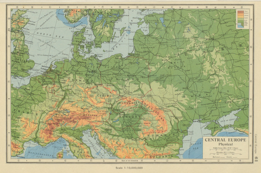 Associate Product CENTRAL EUROPE Physical. Post World War 2 borders. BARTHOLOMEW 1947 old map
