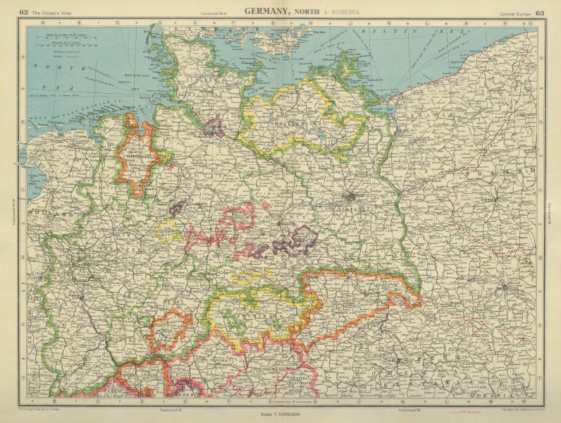 Map Of Germany 1938.Details About Northern Germany Showing 1938 Border With Poland Bartholomew 1947 Old Map