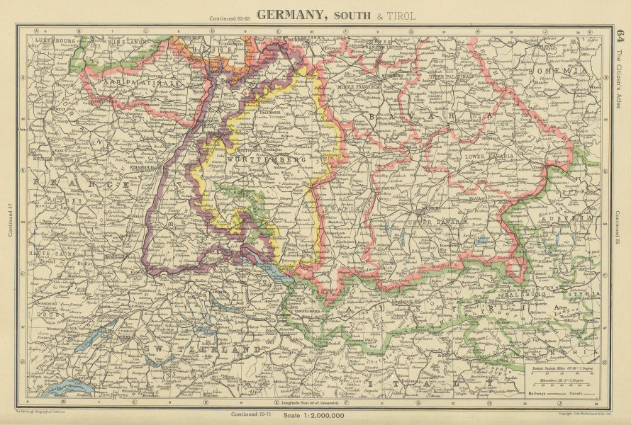 Details about SOUTHERN GERMANY. Bavaria Wurttemberg Saar Baden. BARTHOLOMEW  1947 old map