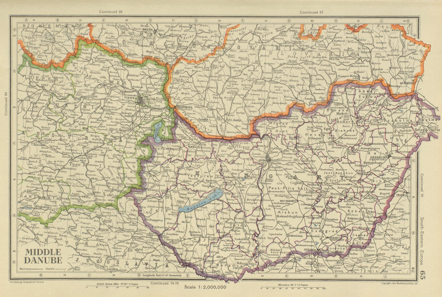 Associate Product MIDDLE DANUBE Hungary, Eastern Austria & Southern Slovakia. BARTHOLOMEW 1947 map