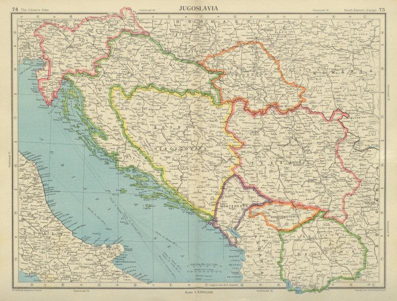 Associate Product YUGOSLAVIA. Trieste international zone. Slovenian Istria. BARTHOLOMEW 1947 map