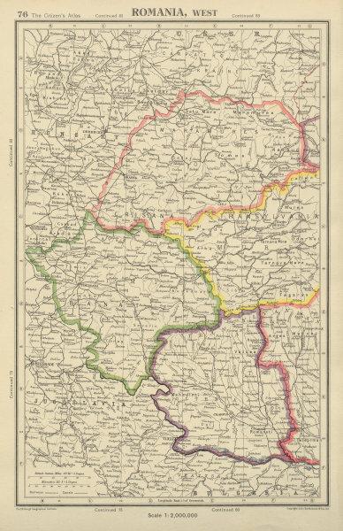 Associate Product ROMANIA WEST showing provinces. Timisoara Oradea. BARTHOLOMEW 1947 old map