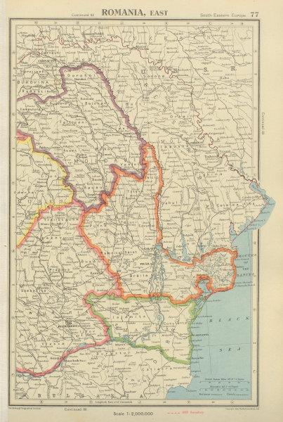 Associate Product ROMANIA EAST showing provinces & 1938 borders. Bucharest. BARTHOLOMEW 1947 map