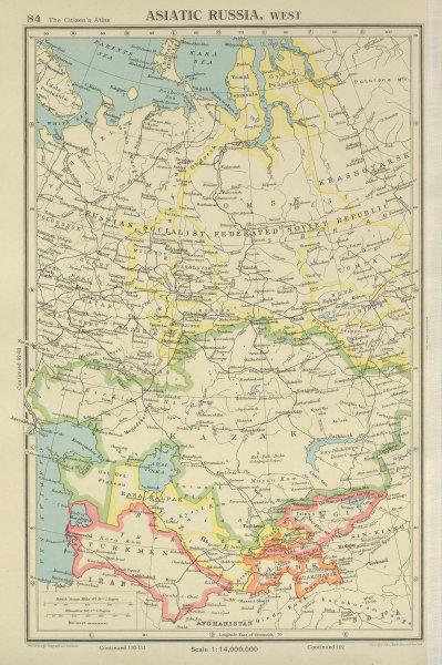 Associate Product CENTRAL ASIA. Russia Kazak Turkmen Uzbek Kirgiz Tadzhik. BARTHOLOMEW 1947 map