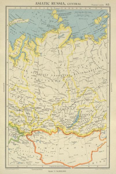 Associate Product CENTRAL ASIATIC RUSSIA Siberia. Tuva/Tyva. Mongolia. BARTHOLOMEW 1947 old map