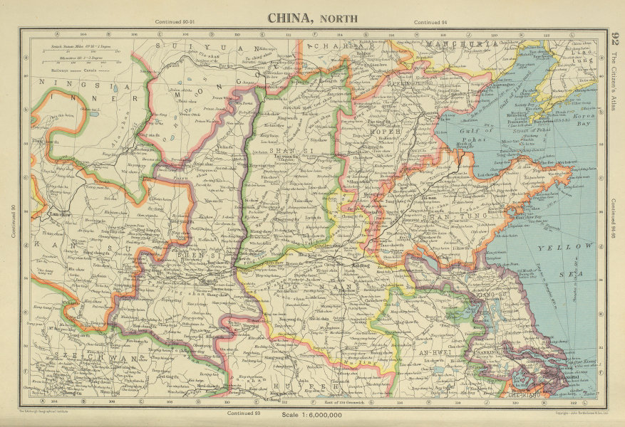 Associate Product NORTH CHINA. Shandong Hopeh Shansi Kiangsu Shensi. BARTHOLOMEW 1947 old map