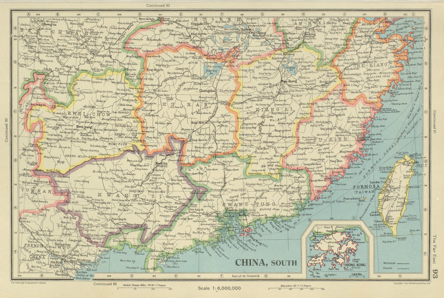 Associate Product SOUTHERN CHINA. Fukien Kiangsi Hunan Kwangtung Taiwan Hong Kong 1947 old map