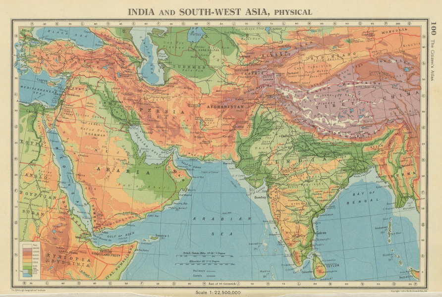 Details about SOUTH & SOUTH WEST ASIA. Physical. Main railways. BARTHOLOMEW  1947 old map