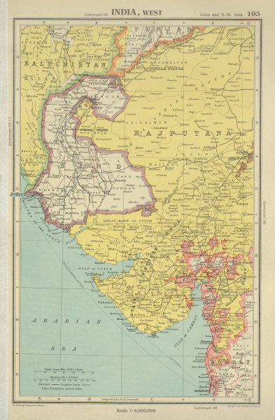 Associate Product BRITISH INDIA NORTH WEST. Sind Rajputana Gujarat. BARTHOLOMEW 1947 old map