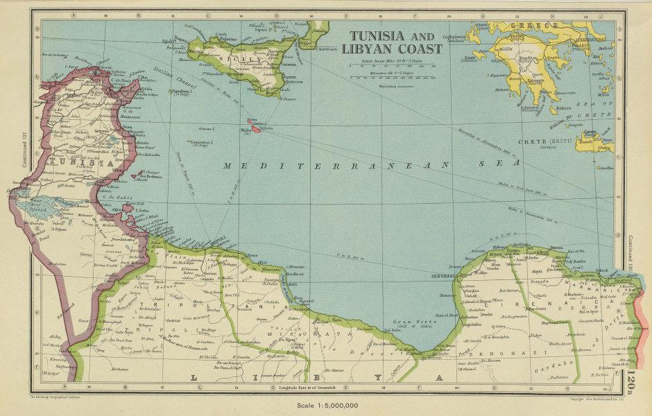 Associate Product MEDITERRANEAN. Tunisia/Libyan coast. Sicily. Gulf of Sirte. BARTHOLOMEW 1947 map