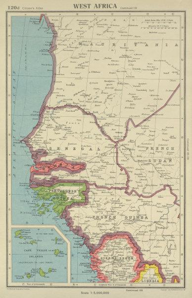 Associate Product CAP VERT. French/Portuguese Guinea Gambia Senegal Sierra Leone 1947 old map