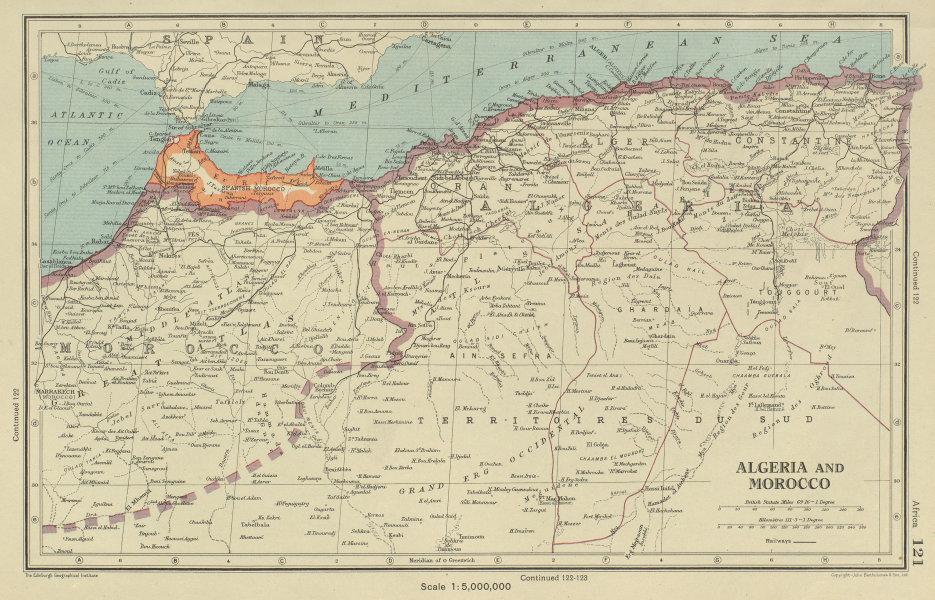 Associate Product ALGERIA AND MOROCCO showing Spanish Morocco. BARTHOLOMEW 1947 old vintage map