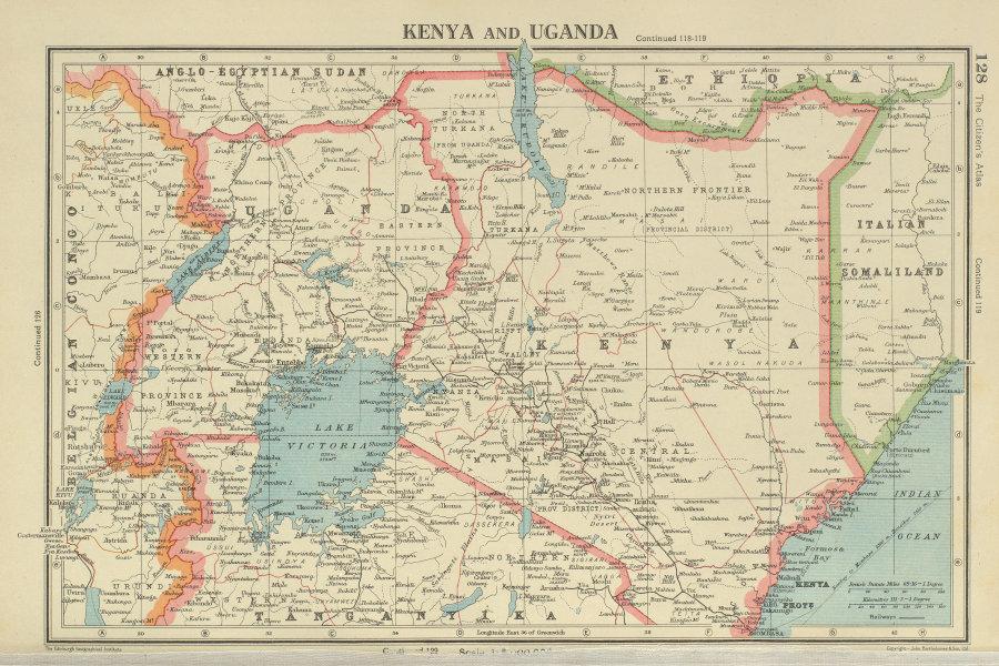Details about EAST AFRICA. Kenya and Uganda. Lake Victoria. BARTHOLOMEW  1947 old vintage map