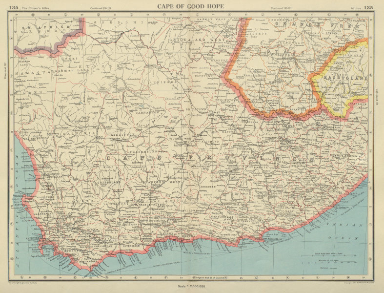 Associate Product CAPE OF GOOD HOPE. Cape Province. South Africa. BARTHOLOMEW 1947 old map