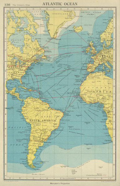 Associate Product ATLANTIC OCEAN. Shows main air & shipping routes, drift/pack ice limits 1947 map
