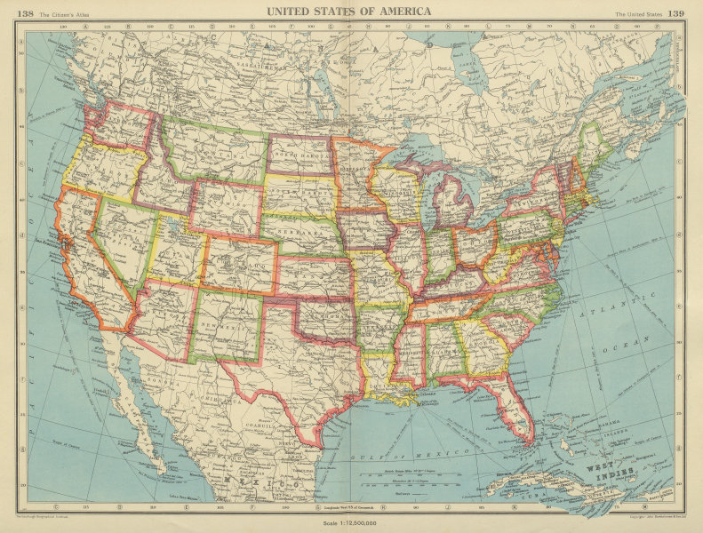 Details about USA. United States of America. State map. BARTHOLOMEW 1947  old vintage