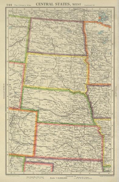 Associate Product USA PLAINS STATES. North & South Dakota Nebraska Kansas. BARTHOLOMEW 1947 map