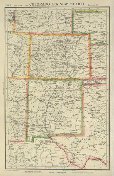 Associate Product COLORADO AND NEW MEXICO. USA state map. BARTHOLOMEW 1947 old vintage chart
