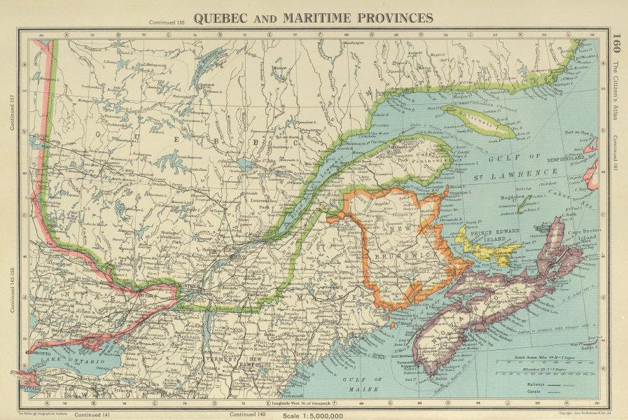 Associate Product QUEBEC & MARITIME PROVINCES. NS Prince Edward Island NB. BARTHOLOMEW 1947 map