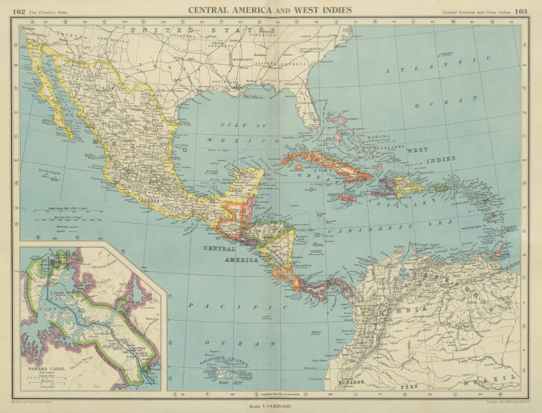 Associate Product CARIBBEAN/CENTRAL AMERICA. Inset Panama Canal Zone. BARTHOLOMEW 1947 old map