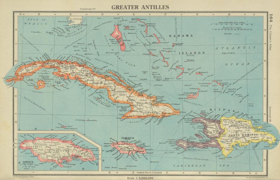 Associate Product GREATER ANTILLES. Cuba Hispaniola Jamaica Bahamas. Haiti Dominican Rep. 1947 map