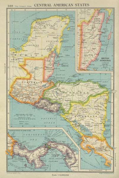 Associate Product CENTRAL AMERICA. Panama Guatemala Nicaragua Costa Rica British Honduras 1947 map