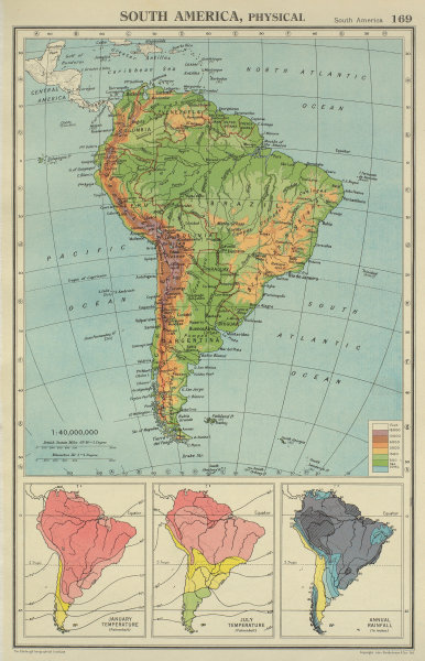 Associate Product SOUTH AMERICA. Physical Temperature & Rainfall. BARTHOLOMEW 1947 old map