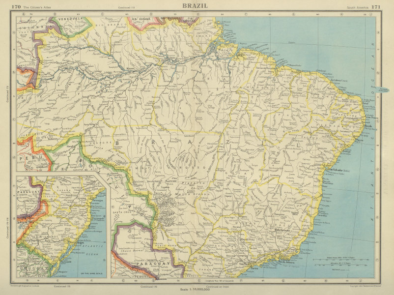 Associate Product BRAZIL. also Paraguay. BARTHOLOMEW 1947 old vintage map plan chart