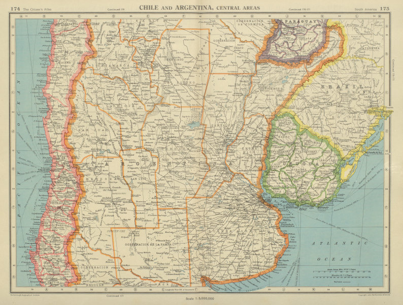 Associate Product CENTRAL CHILE AND ARGENTINA. Showing provinces. Uruguay. BARTHOLOMEW 1947 map