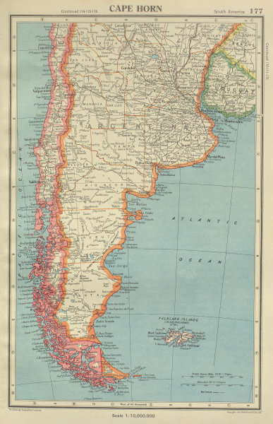 Associate Product CAPE HORN. Patagonia Argentina Chile Falkland Islands. BARTHOLOMEW 1947 map