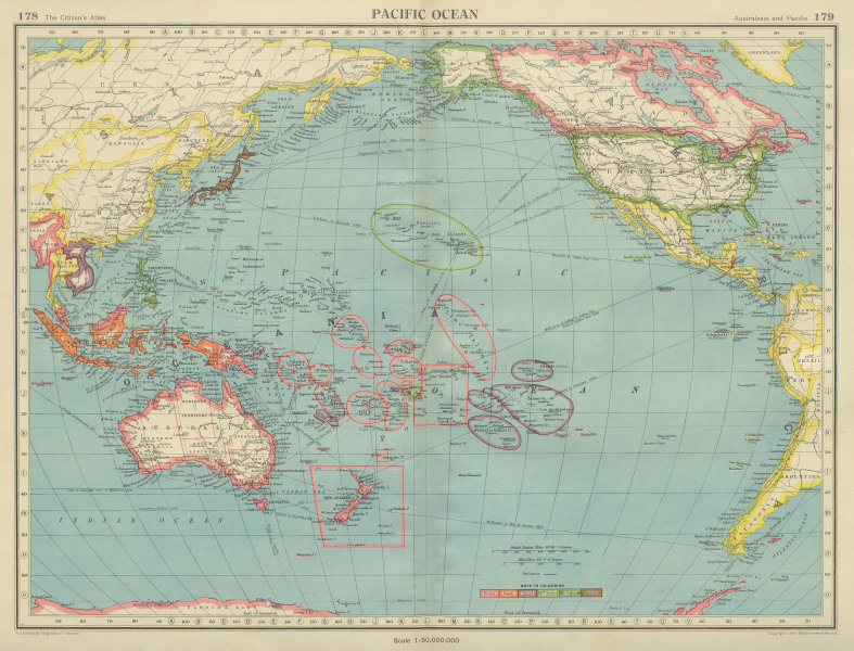 Associate Product PACIFIC OCEAN showing British French Dutch US territory. US Philippines 1947 map
