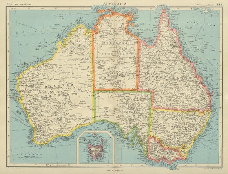 Associate Product AUSTRALIA. Showing states and railways. BARTHOLOMEW 1947 old vintage map chart