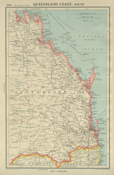 Associate Product QUEENSLAND COAST, SOUTH. showing counties. BARTHOLOMEW 1947 old vintage map