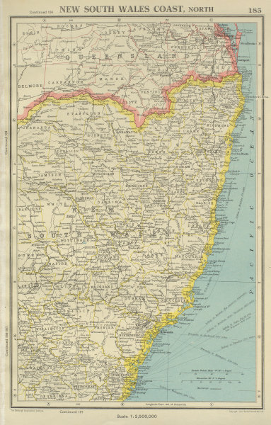 Associate Product NEW SOUTH WALES COAST, NORTH. showing counties. BARTHOLOMEW 1947 old map